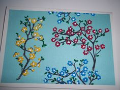 """Dimentional paint used so that flowers """"pop"""" from the page"""