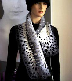 Felted Scarf merino wool silk Hand made felting shawl by FeltDress, $60.00