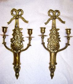 vtg pair victorian french empire provincial brass wall sconces candle holders