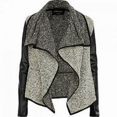 Leather Sleeves Grey Cardigan
