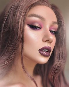 "CONTENT CREATOR|MAKEUP|RETOUCH on Instagram: ""Dusty mauve💜 ⠀⠀⠀ Used: ⠀ ⠀⠀ Wig @uself_wig Red Purple ⠀⠀ #anastasiabeverlyhills RIVIERA Brow Definer Medium Brown Waterproof creme color…"""