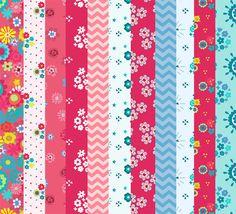 Patterned Floral Scrapbook/Decoupage/Background printable paper pack ...