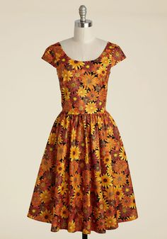 8053686d262 Autumn Leaf Festival Floral Dress. You declare your love for all things  autumnal by wearing