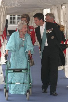 Crown Prince Frederik of Denmark with his beloved grandmother Queen Ingrid at the wedding of his cousin Princess Alexandra of Berleburg