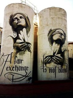 A fair exchange is not blind Artist: FAITH 47 #streetart  crazycoolthings.com #crazycoolthings