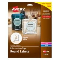 Get your products to stand out with these customizable round labels that offer the marketing pop you need. The print-to-the-edge capability lets you add colors and text all the way to the edge.