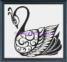 Black Swan  Counted Cross stitch pattern by FiberliciousDesigns