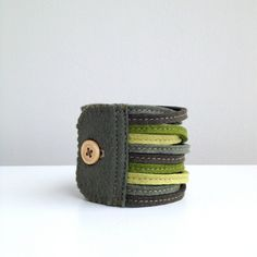 Skinny Wool Felt Bracelet Wristband Cuff // Evergreen // LoftFullOfGoodies. via Etsy.