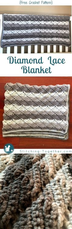Diamond Lace Crochet Afghan--Make this beautiful, gender neutral, modern crochet baby blanket. Free Crochet Pattern by Stitching Together