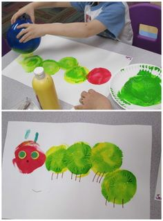 Balloon painting hungry caterpillar craft for kids! - Balloon painting hungry caterpillar craft for kids! Balloon painting hungry caterpillar craft for k - Kids Crafts, Toddler Crafts, Arts And Crafts, Easter Crafts, Green Crafts For Kids, Quick Crafts, Craft Kids, Easter Art, Chenille Affamée