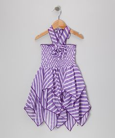 Take a ook at this Purple & White Stripe Flower Handkerchief Dress - Toddler & Girls by Lele for Kids on today! - shirred bodice, multiple handkerchief point skirt, needs better ties. Hankerchief Skirt, Handkerchief Dress, Toddler Girl Dresses, Toddler Girls, Chiffon, Cute Girl Outfits, My Little Girl, Sewing For Kids, Cute Girls