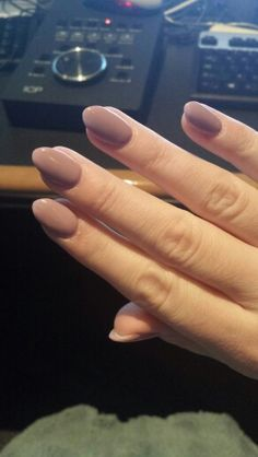 Heart shaped almond lavender nude nails