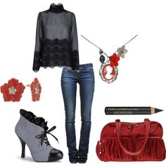 A fashion look from March 2012 featuring long sleeve shirts, destroyed jeans and victorian shoes. Browse and shop related looks. Hot Outfits, Casual Outfits, Fashion Outfits, Womens Fashion, Girl Outfits, Vintage Outfits, Vintage Fashion, Modern Victorian Fashion, Chubby Fashion