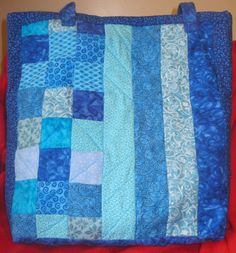 Large Blue Quilted Tote Bag Fully Lined by SingingRabbitDesigns  $55.00 Use coupon code PIN10 and get 10% of this or any other item(s) in my shop.