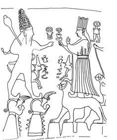 Relieve del encuentro de Teshub y  Khebat en Yazilkaya (S.XIII a.C.) Hay 2 cortejos inscritos en cada muros de la cámara. En el fondo aparecían las figuras de los dioses tutelares del panteón hitita: Teshub dios del Tiempo, Khebat diosa solar del Estado, a gran escala. La diosa Khebat se representa sobre un pedestal en forma de león y sobre montañas. Teshub tb aparece sobre dioses montaña, barbado y atributos de poder, la tiara de cuernos y la maza, parece los relieves de las puertas de… Timeline Project, Ancient Near East, Ancient Mysteries, Mythical Creatures, Pedestal, Archaeology, Architecture Art, Civilization, Mystery