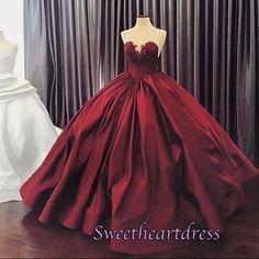 2017 deep red princess ball gown, formal prom dress, evening dress
