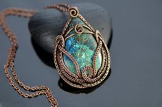 Copper wire pendant azurite gemstone wire weave copper wire wrapped jewelry hand crafted teal turquoise fantasy lotus sea oriental Indian