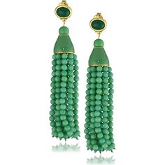 Kenneth Jay Lane Gold-Plated Simulated Jade Tassel Drop Earrings Known as an American costume jewelry designer and the most important men in a fashionable womans life Kenneth Jay Lane has made a name for himself custom designing and outfitting celebrities and socialites with his elegant fashion jewelry for decades. Introducing a pair of simulated jade bead tassel drop earrings by Kenneth Jay Lane. The color of these green jade seed bead tassel earrings that is very rich and strong creating a…
