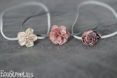 Three Baby Headbands, Newborn Headband in White Cream, Pink and Gray, Great for Photo Prop