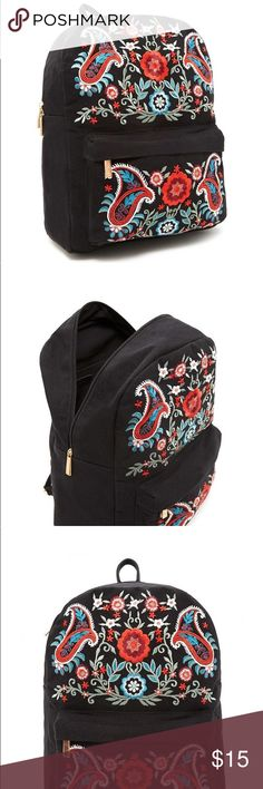 Floral Embroidered Backpack Forever 21 A canvas backpack featuring front paisley and floral embroidery, a front zip pocket, a zip-around top closure, an interior zip pocket, cloth top handle, and adjustable cloth shoulders straps. Forever 21 Bags Backpacks