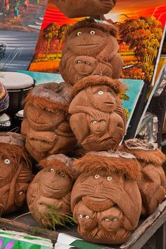 Carved Coconuts - Bali, Indonesia - now who wouldn't want to take home one of these for their mantlepiece?