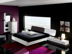 I really like the little bit of white and the dark purple of this room, very beautiful