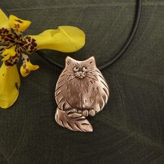 Bronze Large Fat Cat Pendant