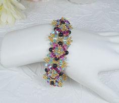 Woven Black Pearl Bracelet in Swarovski ABx2 by IndulgedGirl