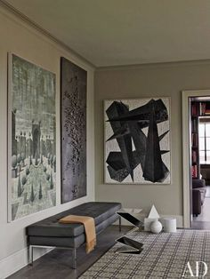 Contemporary Manhattan livingroom designed by Jason Goldstein: Vintage1970s metal-studded work from Galerie Camoin Demachy and Florence Kno...