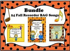 ***$7.00***This product contains the following RECORDER Easy BAG Songs for Fall, October and November. These have been bundled together.• 24 original BAG songs to Sing and Play:RECORDERS BAG of Fall Songs 8 Fall Themed Songs: Harvest, Multi-colored leaves, Cool weather, Pumpkin patch, Short... All Songs, Songs To Sing, Well Trained Mind, Simple Bags, Easy Bag, Harvest Songs, Fall Cleaning, Teaching Materials, Teaching Ideas