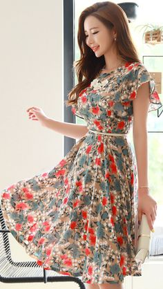 Floral Print Flared Dress. Chiffon BlousesChiffon DressDress SkirtSummer  DressesCasual ... f56e1e98e