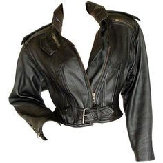 Preowned La Roxx Black Leather Cropped Motorcycle Jacket With Zipper... ($600) ❤ liked on Polyvore featuring outerwear, jackets, black, biker jacket, cropped biker jacket, 1980s leather jacket, genuine leather biker jacket and 80s jackets