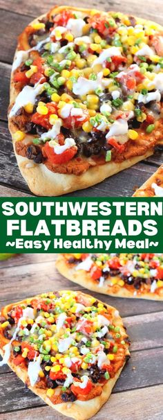 Southwestern Flatbreads are an easy weekday meal. Loaded with vegetables, they are super healthy, easy to make, and affordable! Easy Weekday Meals, Easy Weeknight Meals, Quick Meals, Brunch Recipes, Easy Dinner Recipes, Pizza Recipes, Bread Recipes, Dinner Ideas, Healthy Eating Recipes