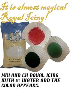 CK Royal Icing  - Red, Green, Black are perfect for Christmas holiday baking.