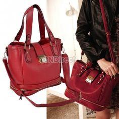 $16.60 Vintage Hasp & Zip Closure Handbag Bucket Bag Cross-body Shoulder Bag