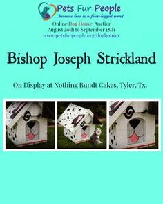 Bishop Joseph Strickland's Dog House   Precious 3 x 3 foot wooden dog house with removable roof designed & painted by Bishop Strickland for Pets Fur People. This house may be viewed at Nothing Bundt Cakes in Tyler, Texas.