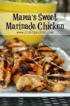 This simple sweet chicken marinade is the perfect recipe for summer grilling. Sw… This simple sweet chicken marinade is the perfect recipe for summer grilling. Sweet and simple, but impressive enough for company! More from my siteAsian Sticky Chicken Teriyaki Chicken, Chicken Shish Kabobs Marinade, Best Grilled Chicken Marinade, Grilled Chicken Kabobs, Chicken Marinade Recipes, Kebab Recipes, Chicken Marinades, Simple Chicken Marinade, Grill Recipes
