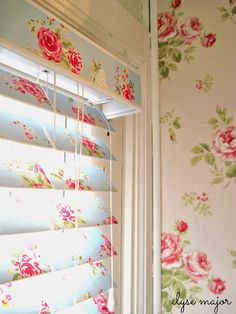 How To Cover Blinds with Wallpaper - these decoupaged blinds look very shabby chic.