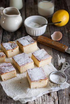 ( Polish) Magic Cake:  4 eggs, icing sugar, butter (melted and cooled down),flour, salt, warm milk, water, vanilla, lemon juice