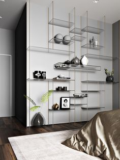 High Ceiling Living Room, Living Room Wall Units, Shelving Design, Shelf Design, Interior Design Presentation, Muebles Living, Modern Tiny House, Furniture Inspiration, Home Decor Accessories
