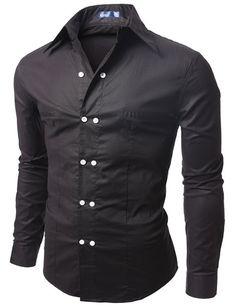 Doublju Men's Casual Long Sleeve Double Button Dress Shirt BLACK #doublju