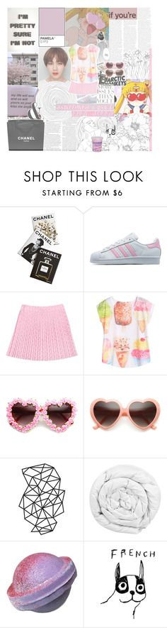 """""""sometimes i can't even sleep because i love someone too much"""" by pearliemoon ❤ liked on Polyvore featuring Assouline Publishing, PAM, adidas Originals, Chanel, Brinkhaus, Wassup, House by John Lewis and Cotton Candy"""