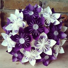 Items similar to Peacock Paper Flower Bridal Bouquet with Vintage Button Accents, Customizeable, by Enchanted Bouquets on Etsy Folded Paper Flowers, Paper Lace, Origami Flowers, Diy Flowers, Purple Flowers, Burlap Flower Wreaths, Diy Crafts How To Make, Paper Bouquet, Diy Wedding Bouquet