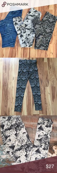 PINK & Abercrombie Leggings Bundle! PINK Victoria's Secret & Abercrombie full length leggings bundle! All worn but in good condition (there is minor color fading)! The white and black Floral and blue are Abercrombie (both xs), and the black & white Aztec Print is PINK (small). PINK Victoria's Secret Pants Leggings