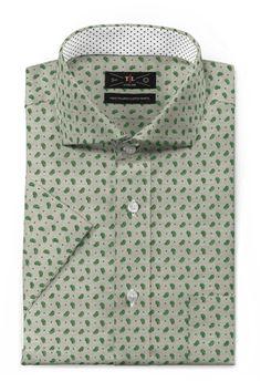 Green short sleeved paisley 100% cotton Shirt - http://www.tailor4less.com/en-us/men/shirts/3389-green-short-sleeved-paisley-100-cotton-shirt