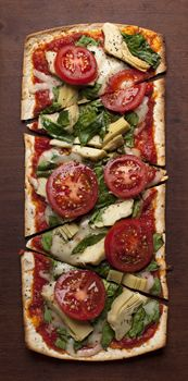 Photo of Thin Crust Tomato, Artichoke & Spinach Pizza -lots of flat bread pizza ideas