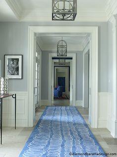 blue/grey hallway w/beach blue runner ♥