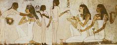 이집트 벽화에 그려져 있는 그림이다.  이집트가 더운 지역인만큼 햇볓을 덜 흡수하기 위해 흰 옷을 즐겨 입었던 것 같다.