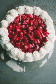 Roasted Strawberry Rhubarb Ice Cream Cake