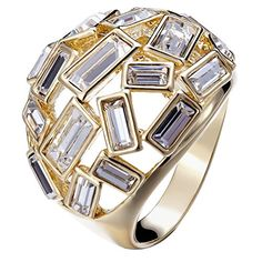 Fappac 14k Gold Plated Rectangle Crystals from Swarovski Cocktail Statement Ring  7 * Read more reviews of the product by visiting the link on the image.(This is an Amazon affiliate link)
